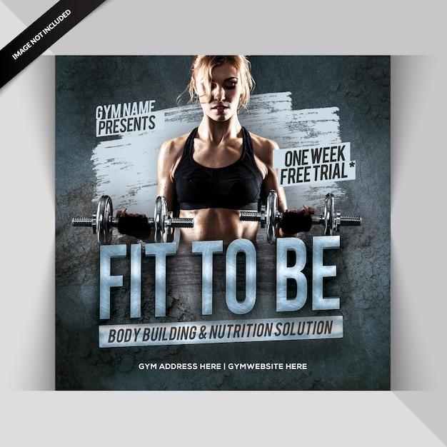 Gym Fitness Post Instagram Ou Bannière PSD Premium