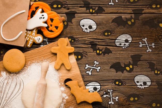 Halloween traite le processus de cuisson Psd gratuit