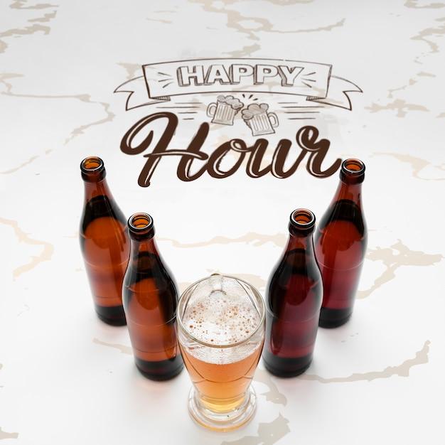 Happy Hour Avec Maquette De Bière Artisanale Psd gratuit