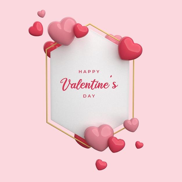 Happy Valentine's Day Avec Rendu De Trame Coeur 3d PSD Premium