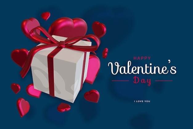 Happy Valentine's Day With Love 3d Rendu Maquette Audacieuse PSD Premium