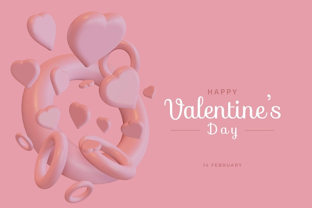 Happy Valentine's Day With Love 3d Rendu Maquette Audacieuse PSD Premium