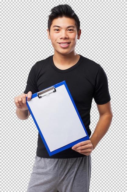 Heureux homme de sport chinois avec inventaire PSD Premium