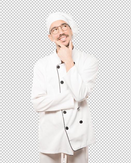 Heureux Jeune Chef Faisant Un Geste De Doute PSD Premium