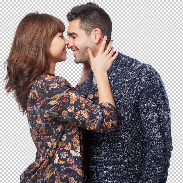 Heureux Jeune Couple Isolé PSD Premium