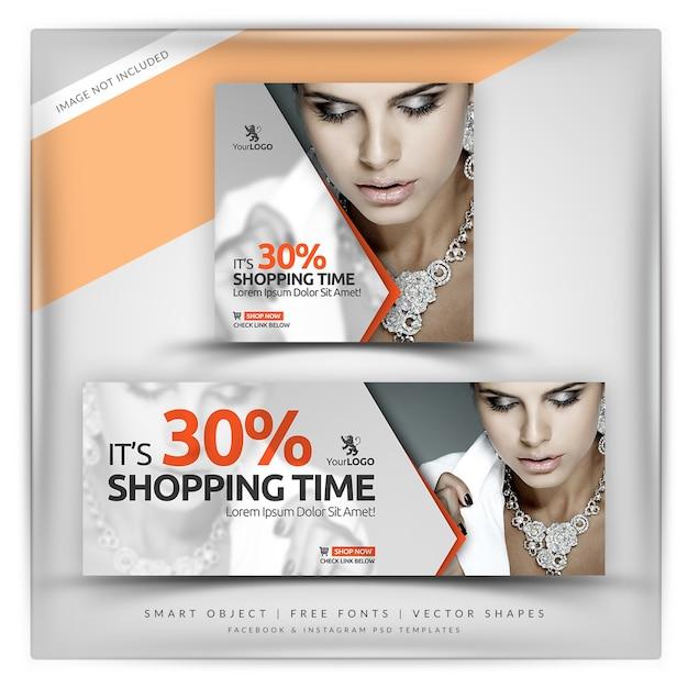 High fashion instagram & facebook banner PSD Premium