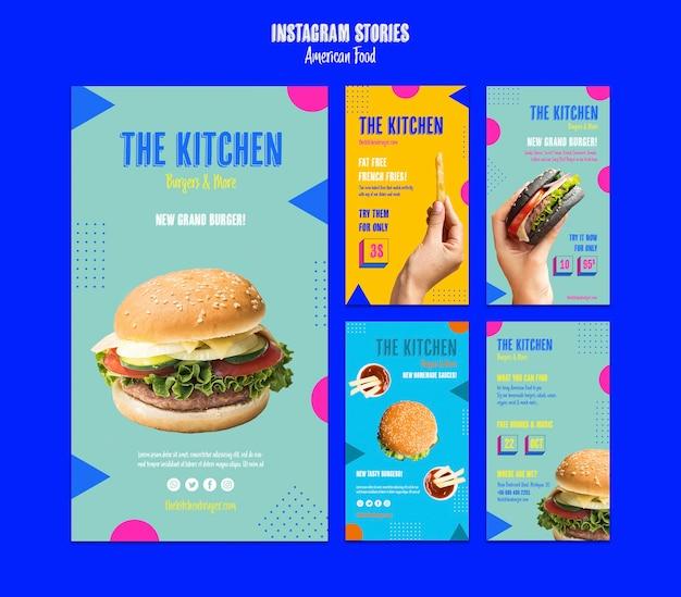 Histoires instagram cuisine américaine Psd gratuit
