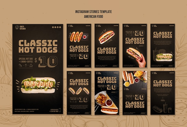 Histoires Instagram De Hot Dogs Classiques Américains Psd gratuit