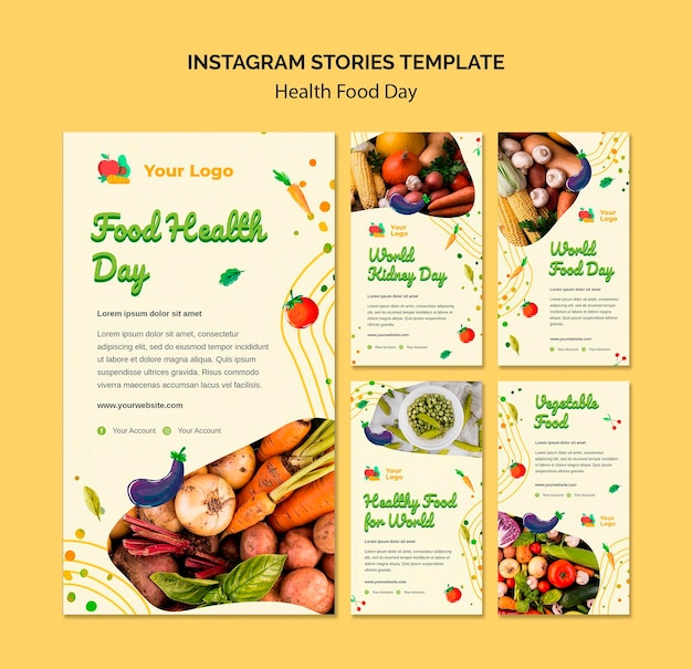Histoires Instagram De La Journée De L'alimentation Santé Psd gratuit