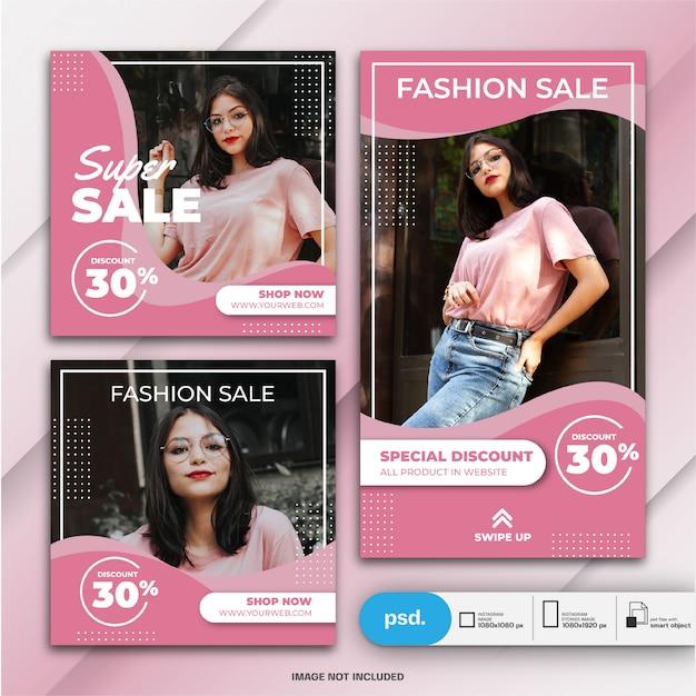 Histoires Instagram Et Modèle De Vente De Mode Bundle Post Feed PSD Premium