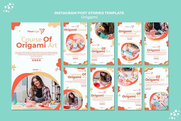 Histoires Instagram En Origami Psd gratuit