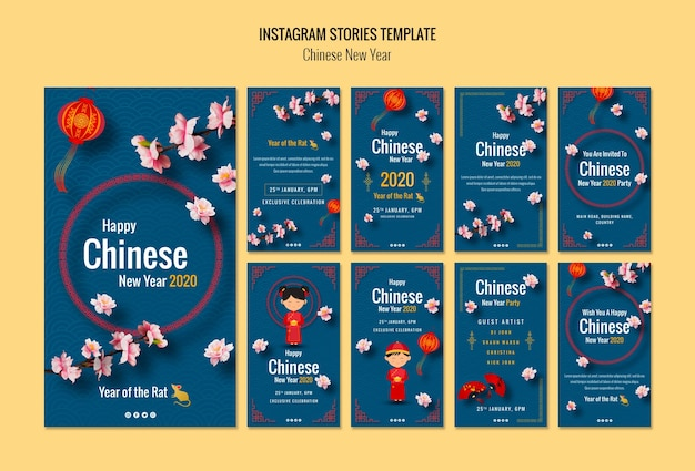 Histoires instagram pour le nouvel an chinois Psd gratuit