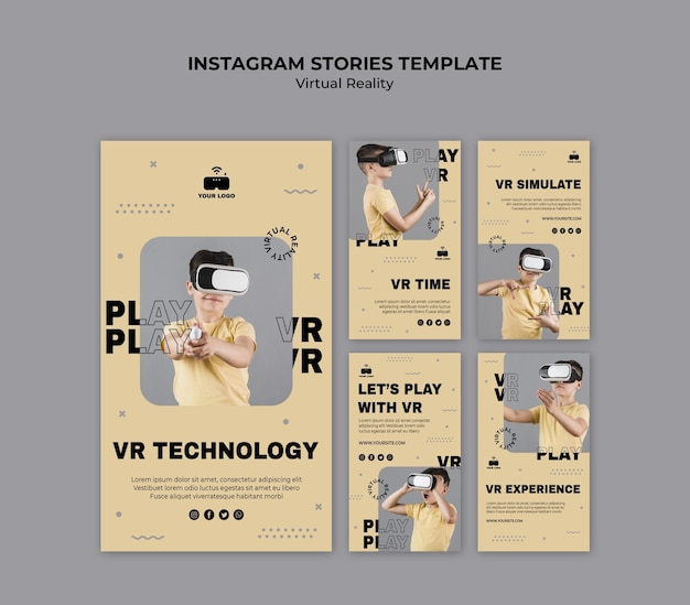 Histoires Instagram De Réalité Virtuelle Psd gratuit