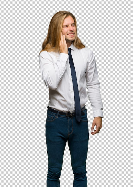 Homme D'affaires Blond Aux Cheveux Longs Avec Maux De Dents PSD Premium
