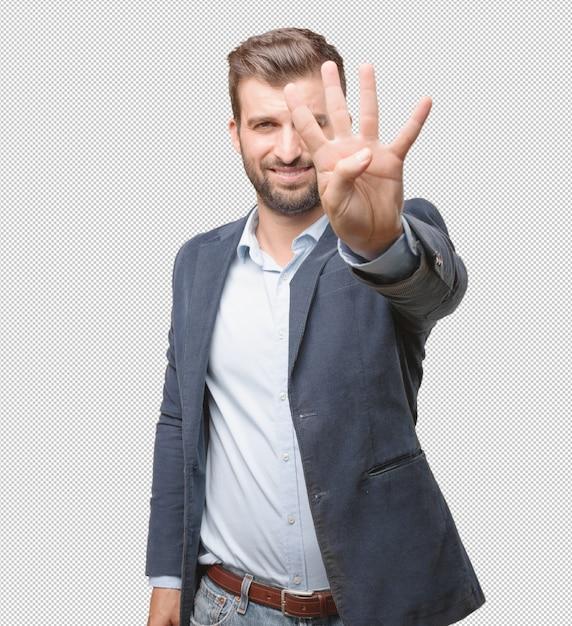 Homme D'affaires Montrant Quatre Doigts PSD Premium