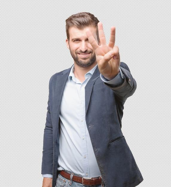 Homme D'affaires Montrant Trois Doigts PSD Premium