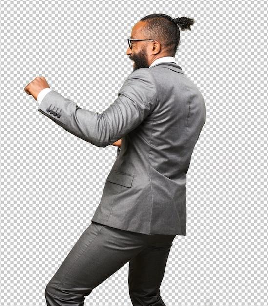 Homme d'affaires noir dansant PSD Premium