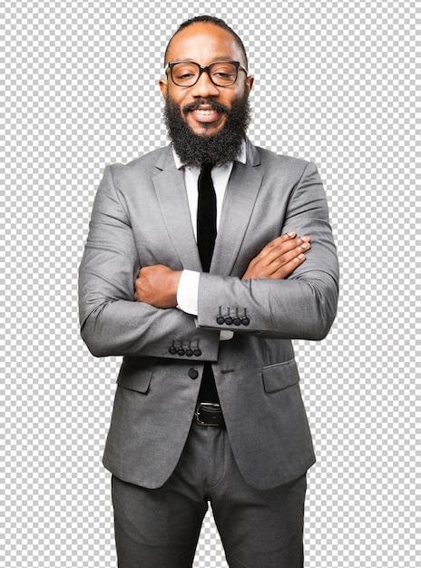 Homme D'affaires Noir Souriant PSD Premium