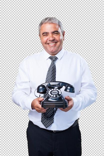 Homme d'affaires parlant au téléphone PSD Premium