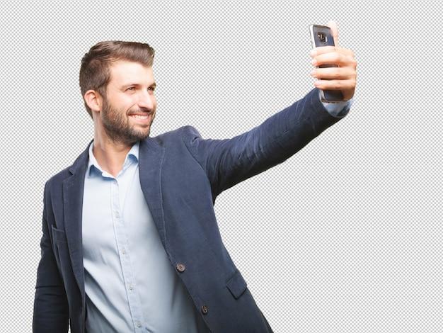 Homme d'affaires prenant selfie PSD Premium