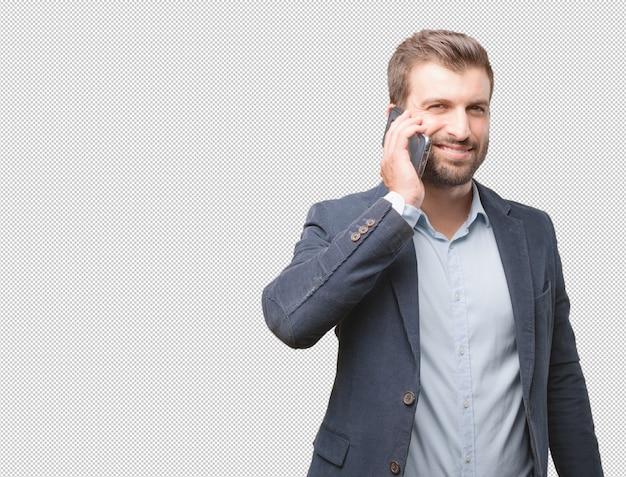 Homme d'affaires en téléphonant PSD Premium