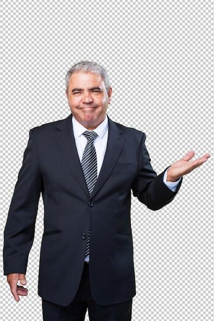 Homme d'affaires tenant le geste PSD Premium