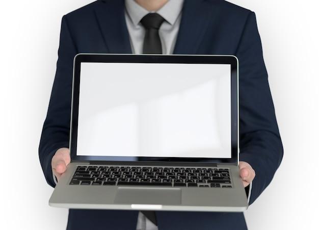 Homme affaires, tenue, portable, copie, espace, technologie PSD Premium