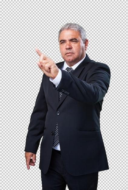 Homme d'affaires touchant un écran PSD Premium