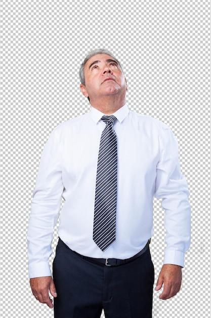 Homme d'âge mûr levant les yeux PSD Premium