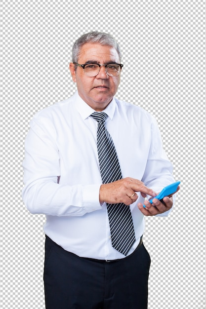 Homme d'âge mûr en train de calculer quelque chose PSD Premium