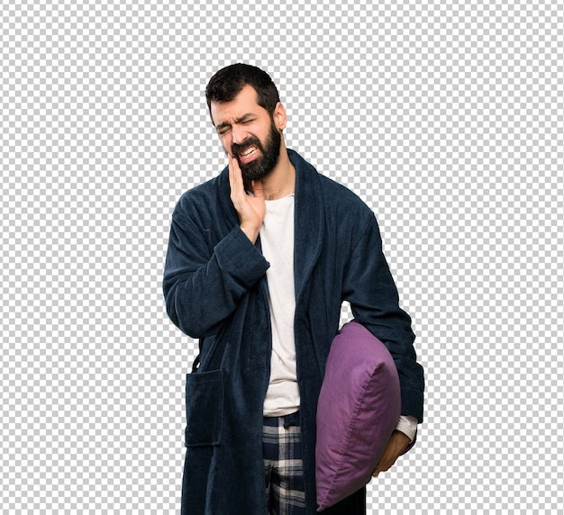 Homme à La Barbe En Pyjama Avec Mal Aux Dents PSD Premium
