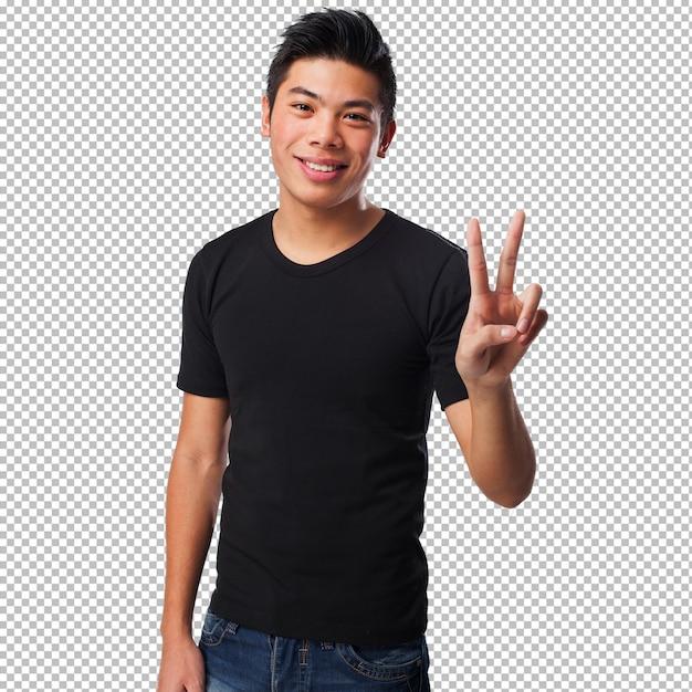 Homme chinois faisant un signe de victoire PSD Premium
