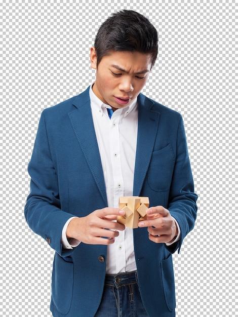 Homme Chinois Avec Un Jeu De Cerveau PSD Premium