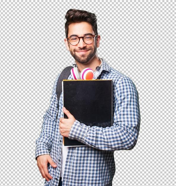 Homme étudiant tenant un livre PSD Premium