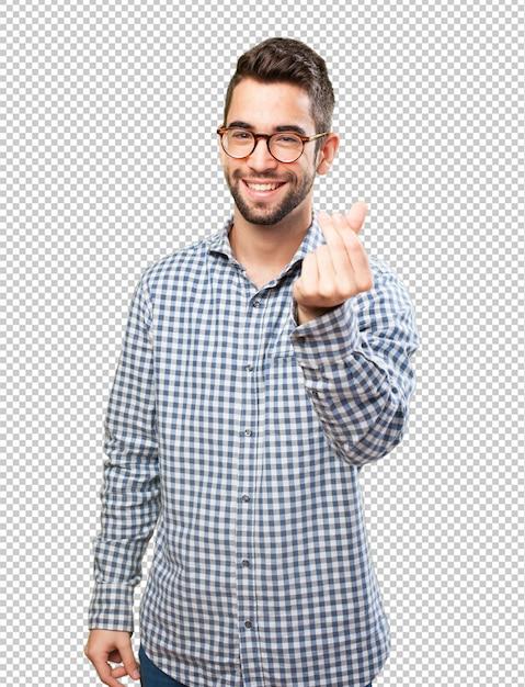Homme faisant un geste riche PSD Premium