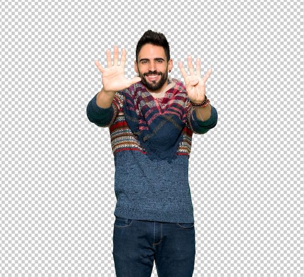 Homme hippie comptant neuf avec les doigts PSD Premium