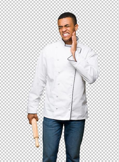 Homme Jeune Chef Américain Afro Avec Maux De Dents PSD Premium