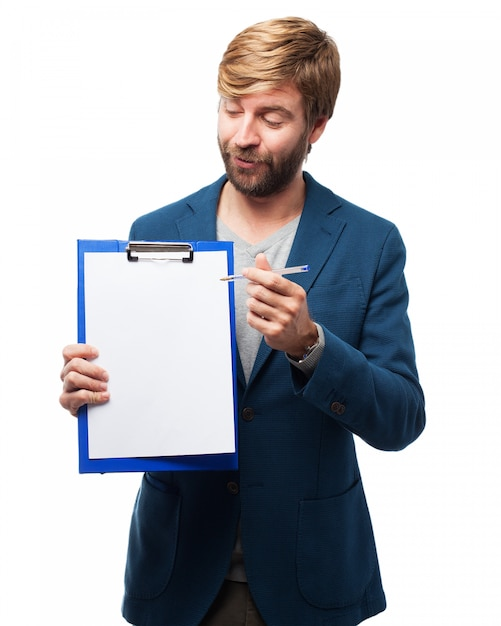 Homme Avec Une Liste Blanche Psd gratuit