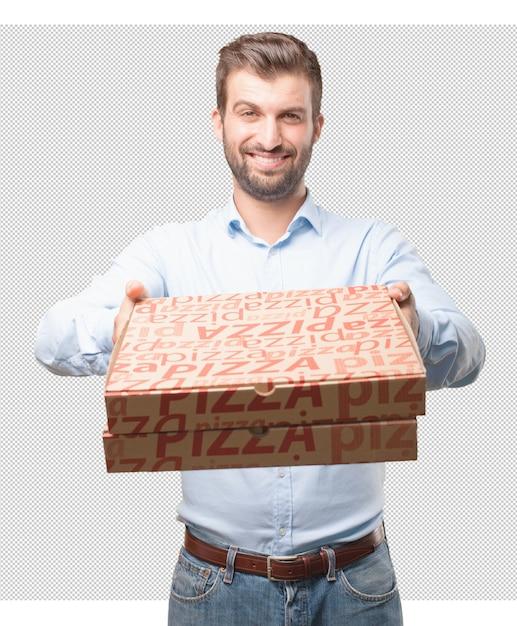 Homme moderne avec des boîtes à pizza PSD Premium