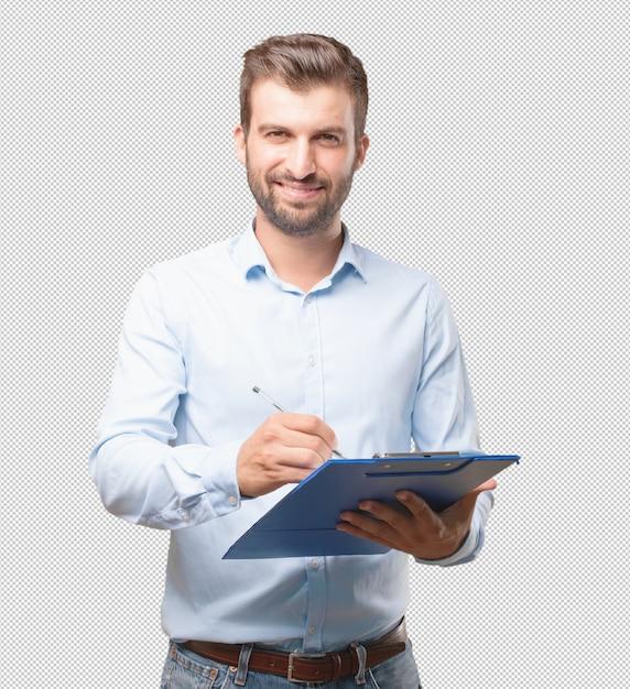 Homme moderne avec presse-papiers PSD Premium
