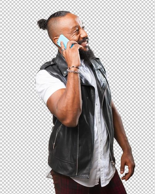 Homme Noir Parlant Sur Mobile PSD Premium