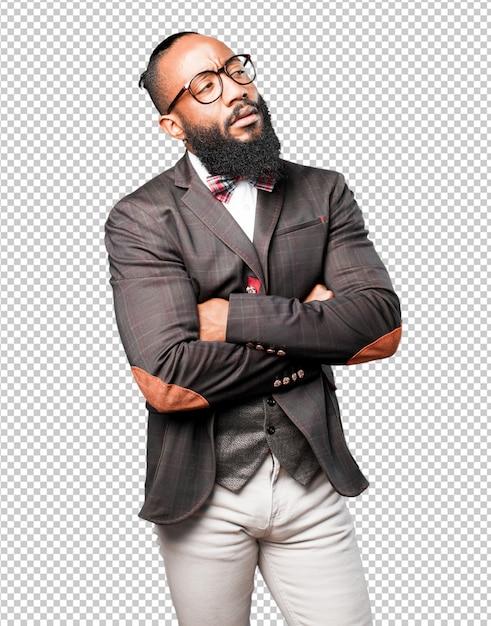 Homme Noir Pensant PSD Premium