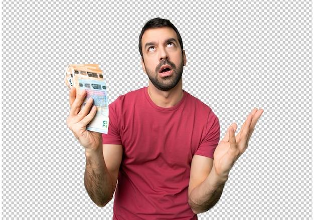 Homme Prenant Beaucoup D'argent Frustré Par Une Mauvaise Situation PSD Premium