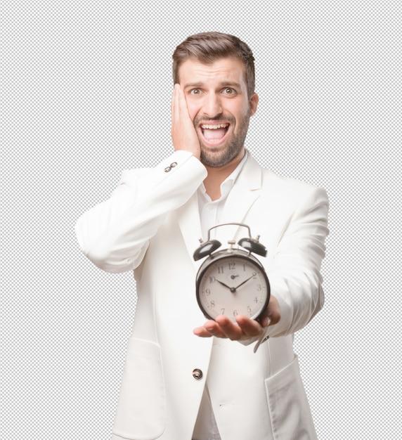 Homme Avec Réveil PSD Premium