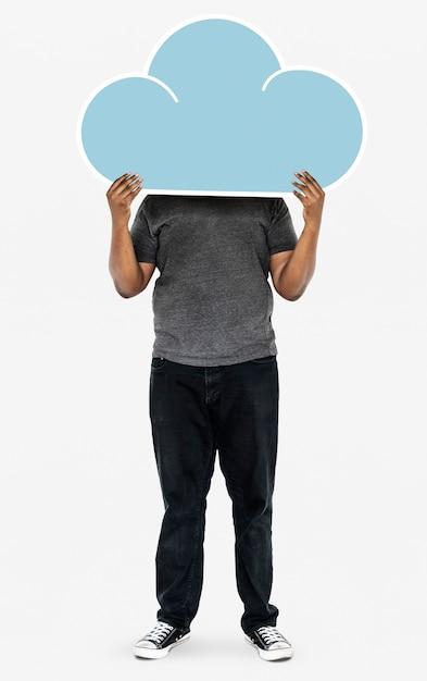 Homme tenant un symbole de nuage bleu Psd gratuit