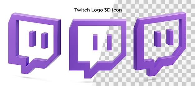 Icône 3d Isolé Actif De Trois Logo Twitch Flottant PSD Premium