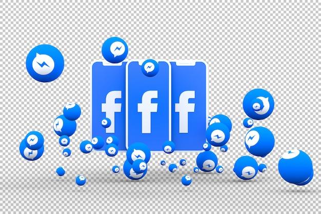 Icône Facebook Sur Les Smartphones à L'écran Et Réactions De Facebook Messenger PSD Premium