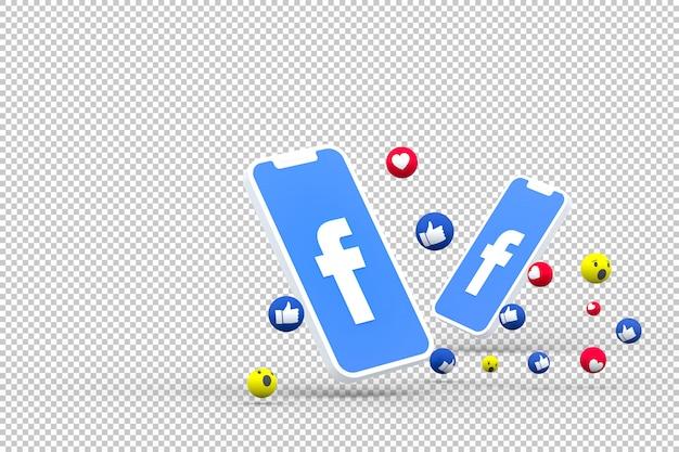 Icône Facebook Sur Les Smartphones à L'écran Et Réactions Facebook PSD Premium