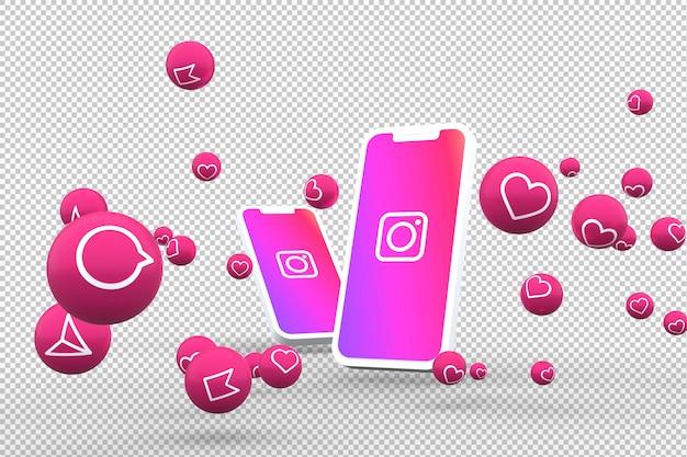 Icône Instagram Sur Les Smartphones à L'écran Et Réactions Instagram PSD Premium