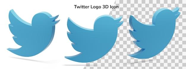 Icône De Rendu 3d Actif Du Logo Twitter Flottant Isolé PSD Premium